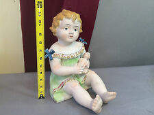 "Antique Bisque Porcelain Piano Baby German Figurine  LARGE 12"" Tall Holding Doll"