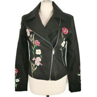 M&S 10 Black Embroidered Faux Leather Biker Jacket Casual Floral Marks Spencer