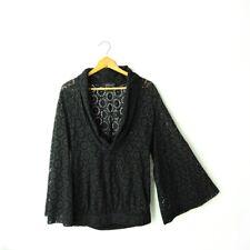 Boudicca Top Black eyelet long bell sleeves draped neckline cotton 10 UK 8 M US
