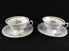 2 MADE in POLAND MOSS ROSE CHINA CUPS & SAUCERS