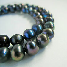 14 inch/ 36cm strand of black dark navy 7mm-8mm potato freshwater pearl beads