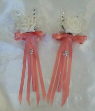 Light Coral Wedding Flowers Bridesmaids Flower Girl Butterfly Wands Ivory Peachy