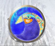 Antique Chinese Silver Enamel Bird Hairpin or Necklace Pendant Marked Silver
