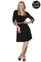 Women's Black Rock n Roll Leopard Vintage Retro PLUS SIZE Dress BANNED Apparel