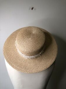 **EUGENIA KIM** Hemp  Boater  Hat Panama  Authentic 56cm/23in/ ( 6 And7/8 )