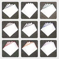 Men White Colorful Rolled Edge Pocket Square Handkerchief Wedding Hanky