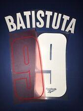 fiorentina kit BATISTUTA bianco rosso flock Nameset maglia calcio reebok