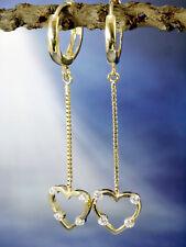 333 Gold kleine Scharnier Creolen 1 Paar Herzen Anhänger mit Zirkonia Steinen