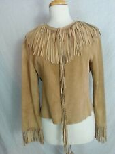MIXIT Fringed Short Jacket Coat Cardigan Tanned Suede Leather Fringed Hippy M/L
