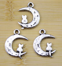 10 pcs Retro style moon the cat charms Pendants  23x18 mm