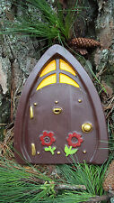 "13"" ENCHANTED FOREST DOOR FOR FAIRY OR GNOME GARDEN -  PAINTED CEMENT STATUE"