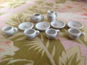 "SALE!~Porcelain Miniature Tea Set~Pink Grapes~Plate Cups 1.25""~Sugar~Creamer~EXC"