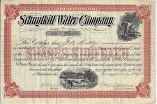 1890 PENNSYLVANIA Schuylkill Water Company Stock Certificate ABN Pottsville