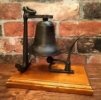 Cast Iron Nautical Ship Anchor Table Bell with Wood Base