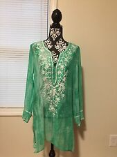 Blue Island Women's Metallic Embroidered Tie-Dye Cover-Up, Green , M