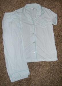 Blue Striped Medium 8 / 10 Button Up Shirt & Capri Pants Pajama Lounge 2 Pc Set