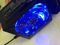 NEW 750W 750 WATT 775W Gaming Quiet Blue LED Fan PSU SATA ATX Power Supply PCIe