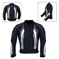 New Men's Motorcycle Motorbike Jacket Waterproof Textile With CE Armoured Grey