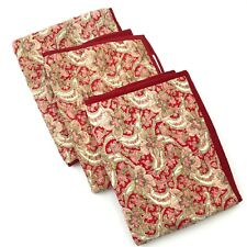 POTTERY BARN Red Set 3 Quilted Shams Georgia Paisley Floral & Solid Tie Closure