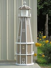 6' Octagon Electric and Solar Powered Poly wood Lighthouse (Clay/white trim)