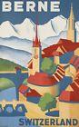 "Vintage Illustrated Travel Poster CANVAS PRINT Berne Switzerland 24""X18"""