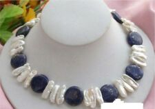 Nature 14mm coin lapis white biwa pearl necklace 18''