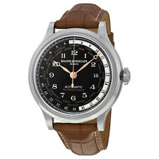 Baume and Mercier Worldtimer Black Dial Brown Leather Mens Watch M0A10134
