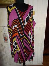 Robe courte sans manches tunique voile imprimé doublé VERPASS 58FR 56D 30UK