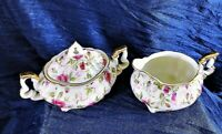 Vintage Lefton China Creamer Sugar w lid Red Rose Chintz Gold Hand Painted 6638