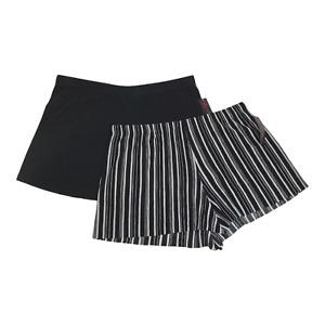 Women's Junior Shorts Pleated XXL 19 Black & Striped Elastic No Hem Sheer 2 Pc