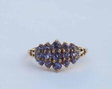 Genuine Round Tanzanite Gemstone Cluster Ring w/ 6 Diamonds - 14k Yellow Gold