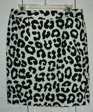 ANN TAYLOR LOFT BLACK WHITE LEOPARD PRINT PENCIL SKIRT SIZE 12 L LARGE