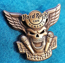 MEMPHIS BRONZE WINGED 3D SKULL SERIES MUSIC MICROPHONES Hard Rock Cafe PIN LE