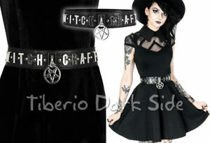 RESTYLE Witchcraft Metal Letters Pentagram Black Synthetic Leather Nu Goth Belt
