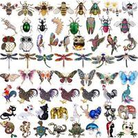Fashion Women Crystal Pearl Animal Butterfly Dragonfly Brooch Pin Custom Jewelry