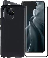 Cover Für Xiaomi Mi 11 Lite Schwarz Matt Schutzhülle TPU + Schutzfilm Glas Esg