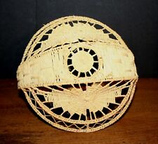 VTG Hand Woven Seagrass Wicker Basket Small Tight Weave INTRICATE PATTERN
