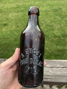 """Antique Early Pre-Prohibition """"A Engel Fond du Lac Wis"""" Brown Spruce Beer Bottle"""