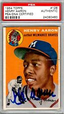 HANK AARON RC - 1954 TOPPS #128 - AUTOGRAPHED SIGNED - PSA/DNA - BRAVES HOFer