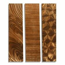 Modern 3 Piece Copper Abstract Metal Wall Art Accents - Copper Trilogy II