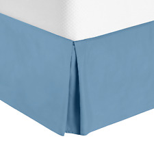 Luxury Pleated Tailored Bed Skirt - 14� Drop Dust Ruffle, Cal King -Blue Heaven