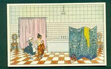 More details for art deco,lady in bathroom by mela k broman,vintage postcard