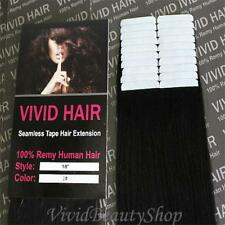 20pcs 18 inches Remy Seamless Tape Skin Weft Human Hair Extensions Jet Black #1