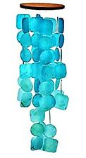 Light Blue tinted Sea Shell Square Circle Hanging Beach House Style Wind Chime