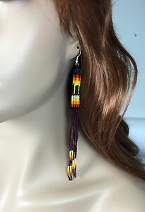 "Dark Chocolate Brown Glass Seed Beads Beaded Extra Long Earrings 5.5 "" E53/30"