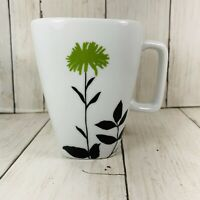 Ty Pennington Style Green  Floral Flower Coffee Cup Mug  Black Leaves Preowned