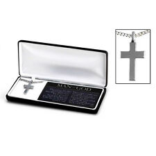 "Man of God Cross Necklace Chrome-Coat Pewter on 20"" Chain, by Dicksons"