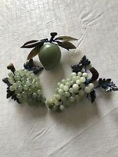 Vintage 3 Pieces Semi Precious Stone Carved Plum & Grapes Jade Quartz