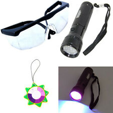 HQRP 365nM Ultra Violet Blacklight Flashlight Torch Light +UV Protecting Glasses
