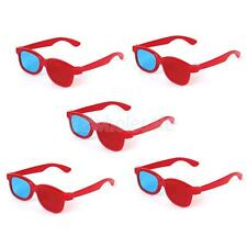 5 Pairs Children Kid Plastics Red/Blue 3D Glasses Anaglyph Glasses Red Frame
